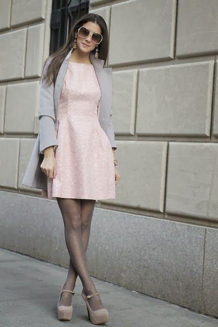 Pichi&39s Soup: Grey coat   Pale pink dress. Killer combination
