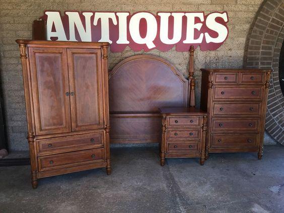 Beautiful Bassett Furniture 4-Piece Bedroom Set - Queen Bed, Dresser, Nightstand, & Armoire
