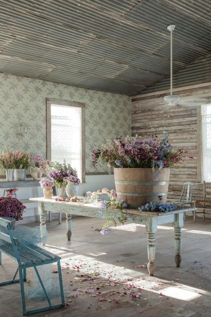 RachelAshwell shabby chic dining space with tin ceiling. 14 Lovely Shabby Chic Design Inspirations. #shabbychic #interiordesign #rusticdecor