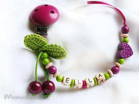 Pacifier chain, keeper personalized name, cherry, heart and wood clip, purple