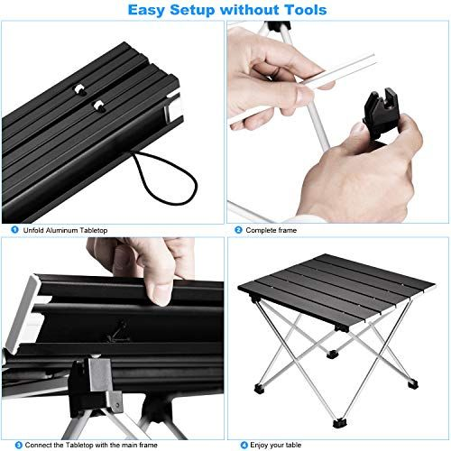 Picnic Festival Easy to Carry Home Use Cooking Small Ultralight Folding Table with Aluminum Table Top and Carry Bag Ledeak Portable Camping Table BBQ Prefect for Outdoor Beach