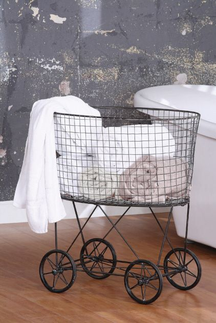this is so smart! an old trolley [vintage laundry basket reproduction via boston interiors]: