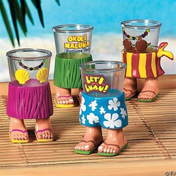 lol luau party shot glasses with FEET! ahahah!!! #shotglasses