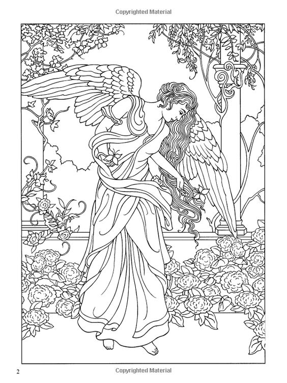 Angel Coloring Pages Pdf : Angels coloring book dover books marty noble