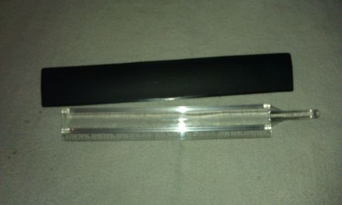 magnified ruler,clear plastic,handle,vintage,w/case,good cond,must see,unique