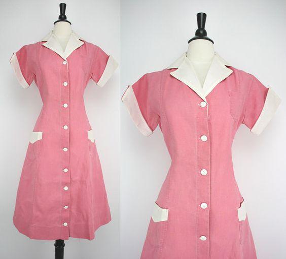 Vintage Diner Waitress 40s Dress Pink Authentic Uniform Heavy ...