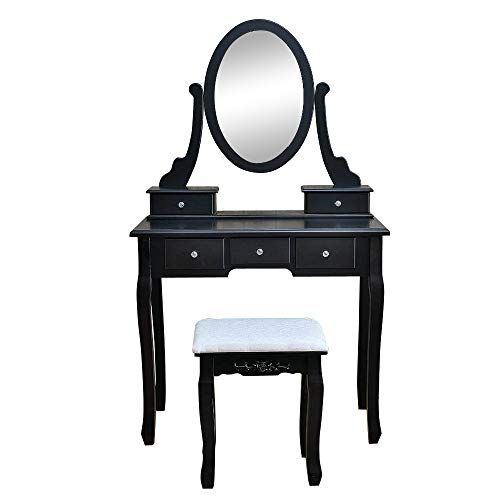 360 Rotation Vanity Table Set With Oval Mirror 5 Drawers Wood Makeup Dressing Table For Bedro Vanity Table Set 5 Drawer Dressing Table Dressing Table Vanity