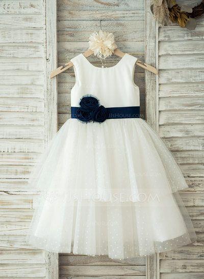 A-Line/Princess Scoop Neck Knee-length Sash Flower(s) Tulle Cotton Sleeveless Flower Girl Dress Flower Girl Dress