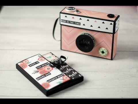 Un tutorial para hacer un mini álbum con desplegables, bolsillos y fotos en cascada, y una caja para guardarlo con forma de cámara de fotos. Tabla de convers...
