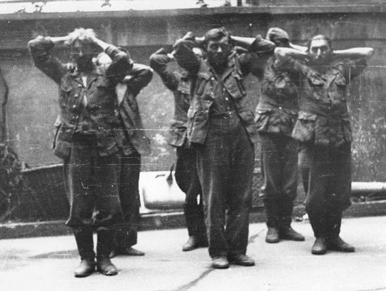By Warsaw insurgents captured German prisoners at the stone fence.