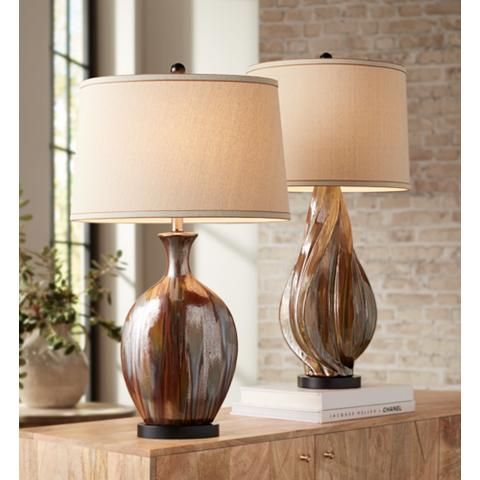 Stewart Copper Drip Round Ceramic Table Lamp 35x31 Lamps Plus Ceramic Table Lamps Beautiful Table Lamp Lamp