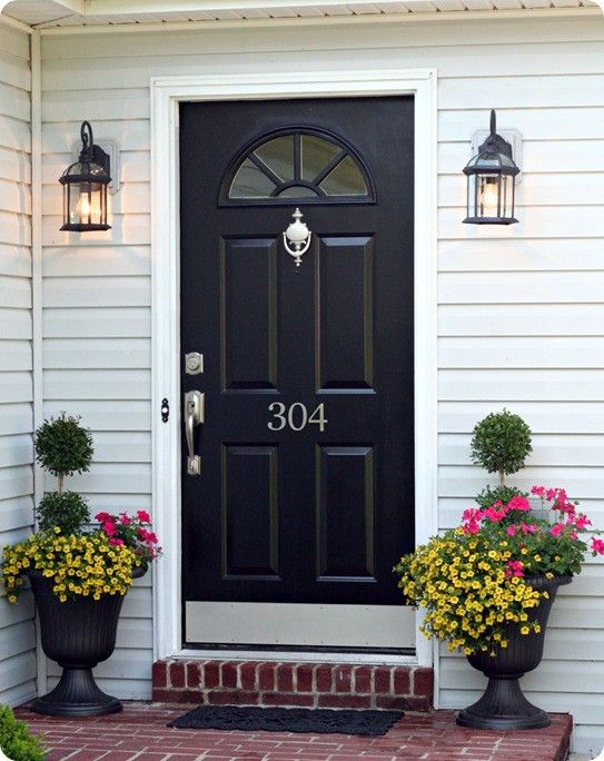 Silver hardware on a dark colored door also like the - Hinge placement on exterior door ...