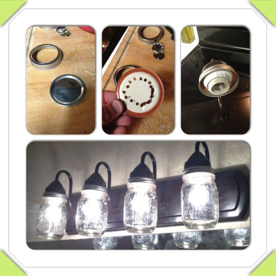 This is an easy DIY mason jar vanity light.under USD 50 (before bulbs) less than an hour. House ...
