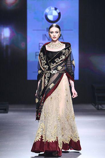 Tarun Tahiliani - BMW India Bridal Fashion Week 2015 (something really nice about the grara colour and border)