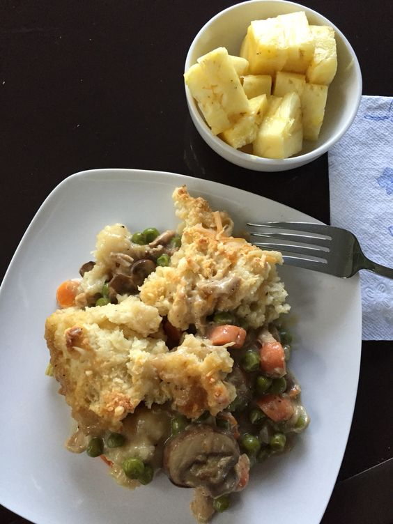 Chicken and biscuit casserole. Fresh pineapple. 580 calories including pineapple