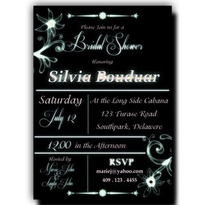 Bridal Shower Invitation Black - White Cyon Text, Black Background, Mystical Flowers, DIY Printable 5x7 or 4x6 (2)