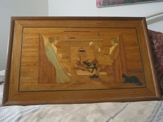 WOOD INLAID Picture plus Frame Colonial Scene Vintage http://ajunkeeshoppe.blogspot.com/: