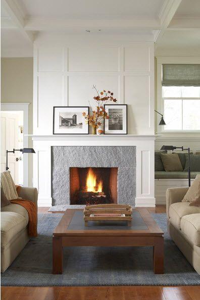 Gray stone fireplace makeover idea