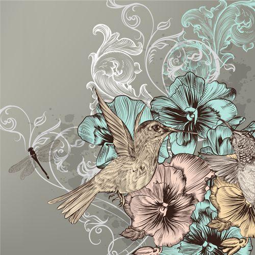 Vintage flower and birds background art vector 03