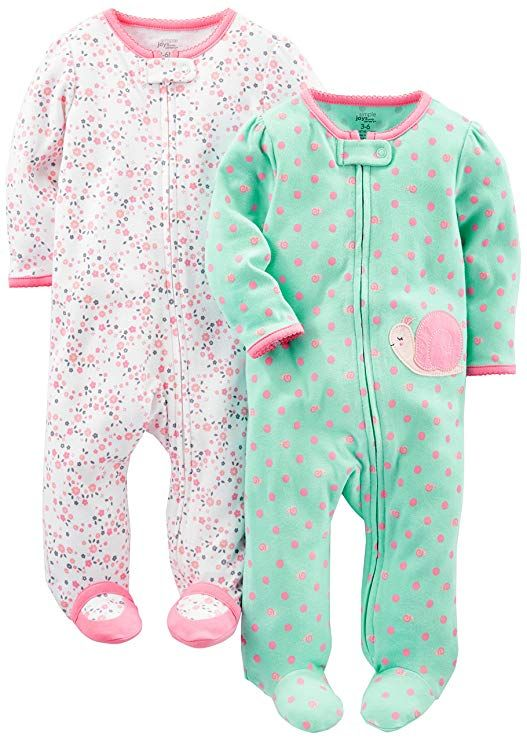 Simple Joys by Carters Baby Girls 2-Pack Cotton Snap Footed Sleep and Play