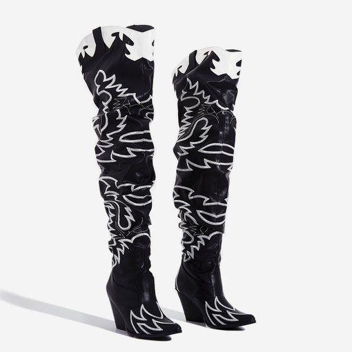 Kelsie Embroidered Western Thigh High