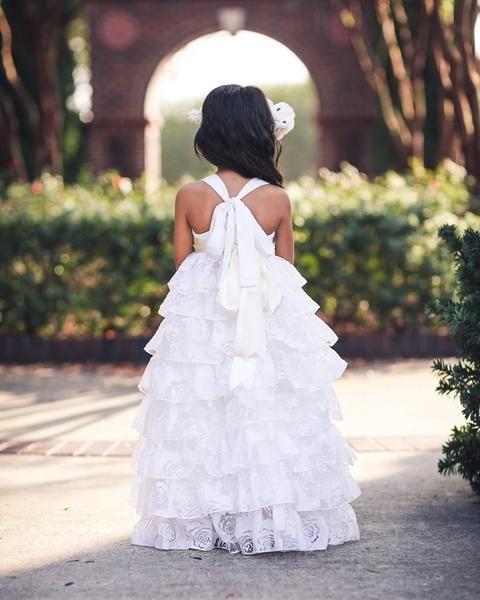 Baby Flower Girl Dress Cosette Country Wedding Vintage Long White Dress Boho Baby Girl Dress Rustic Flower Girl Ruffle Dresses