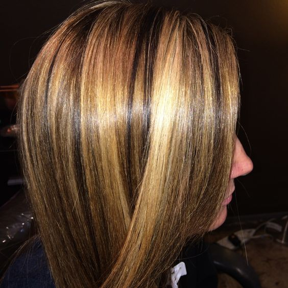 big chunky hi and low lights…love my artist clients, they love to go big and have fun with their hair color!  thanks miss alex  ;  ) x