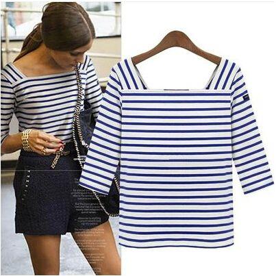 Barato 2015 moda mulheres praça Neck Stripes T   camisa, Doce versátil 3/4…