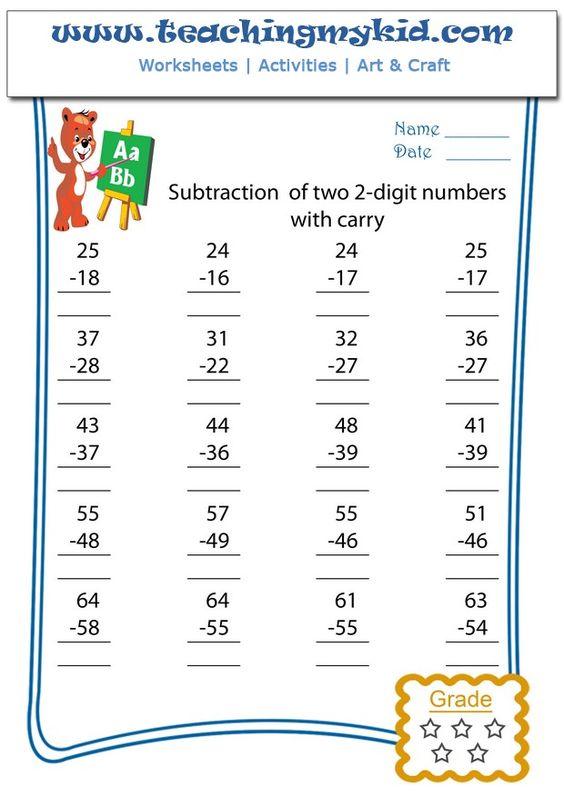 Common Worksheets Subtraction Worksheet Carryover Preschool – Carryover Worksheet