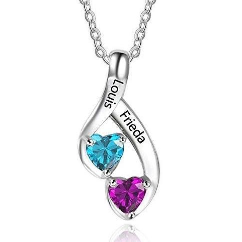Love Jewelry Personalized 2 Heart Created Birthstone Mothers Pendant Necklace With 2 Names Family Pendants For Mother Ne101989 From Hughdeal4less Diamond Cross Necklaces Birthstone Necklace White Diamond Necklace