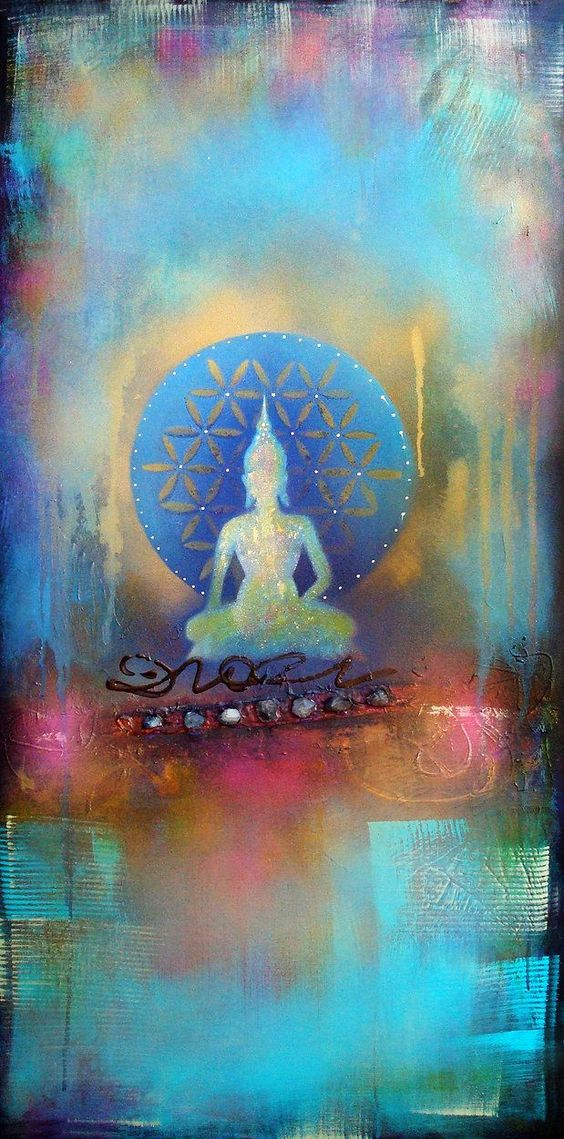 """Fear is a natural reaction to moving closer to the truth."" ~ Pema Chodron Artist: Tara Catalano Buddha Art..:"