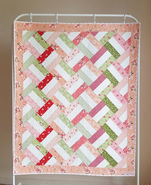 Beautiful Quilt Featuring Summer Blush Fabric Designed By Sedef Imer For Riley Blake Designs Strip Quilt Patterns Strip Quilts Baby Quilts