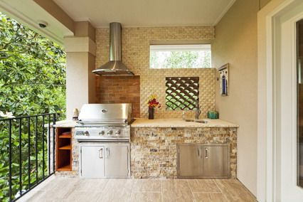 Outdoor Kitchen Design Ideas outdoor kitchen designs for Brick Wall And Wood Cabinets Storage In Modern Outdoor Kitchen Designs Ideas Comfortable Cooking Place In