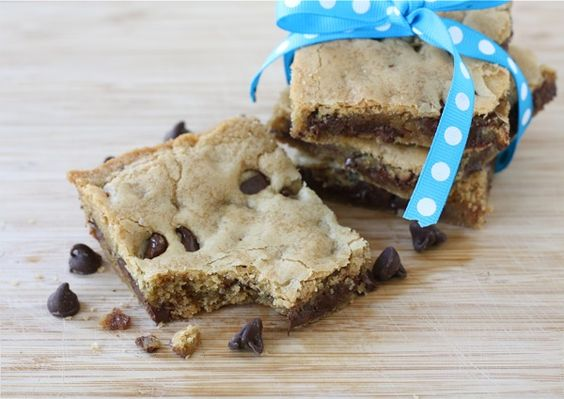 chocolate-chip-cookie-bars - oh dear lord, these are amazeballs. I used LESS sugar (do with every recipe I bake with), and substituted applesauce for butter, and they are ahhh-mazing. Toddler LOVES them, and I could eat entire pan. Deadly.