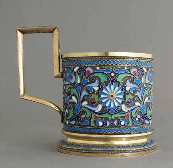 Russian-Antique-Silver-Enamel-Tea-Glass-Holder-161-gramm | eBay