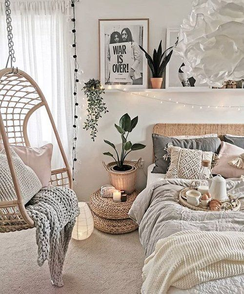 Photo by @vintage_skye Gorgeous bedroom shot with our hanging chair