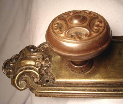 Antique 1912 Penn Brass Mortise Door Lock Set Original Door Knob