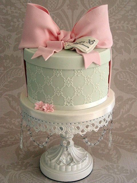 Pink and Green, Hatbox Cake with a Big Bow