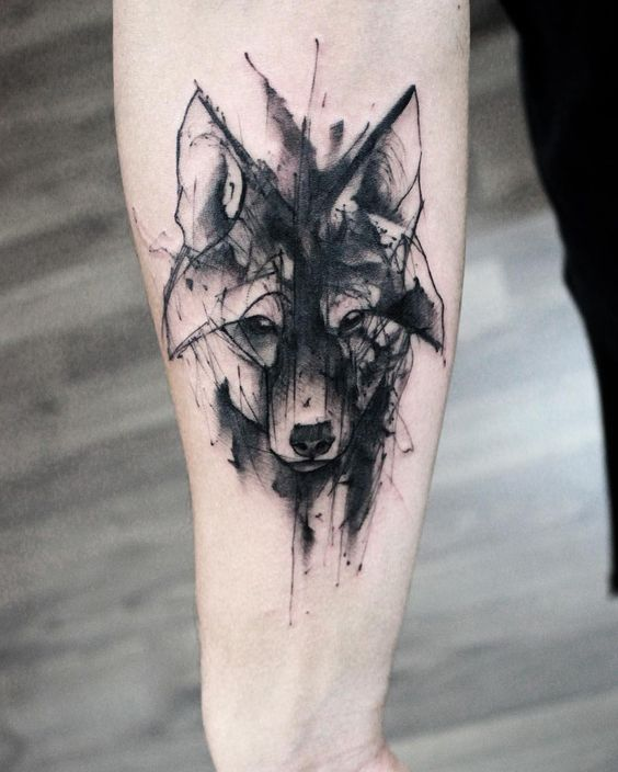 Watercolor Color And Sketch Tattoo: Sketch, Watercolor, Wolf