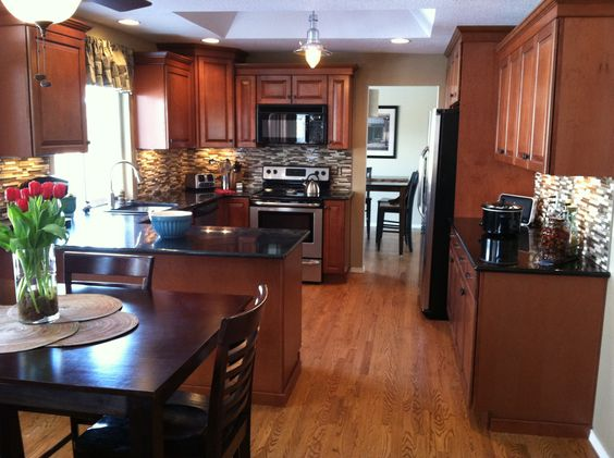 New kitchen maple cognac cabinets we are homeowners pinterest black granite the smalls for Kitchen paint colors with dark maple cabinets