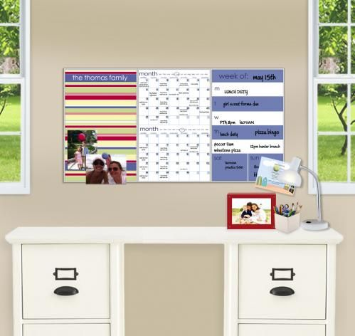 2-month calendar and a week-at-a-glance in a vibrant and stylish personalized design. Give your wall a personality while you give your family order. Each panel measures 11x17 and can hung be in a row (measuring 34x17) or individually
