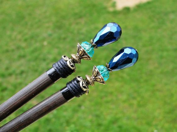 Set of 2 japanese wooden hair stick made with by CarnevalMefisto