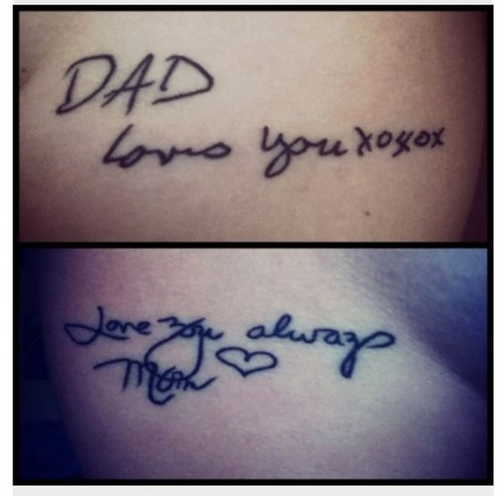 Tattoo Of My Parents Signature From A Card: This Is Such A Beautiful Idea... A Tattoo Of A Signature