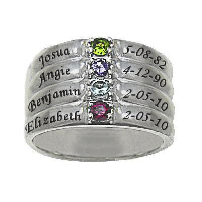 Mothers Simulated Birthstone Stack Look Family Ring In