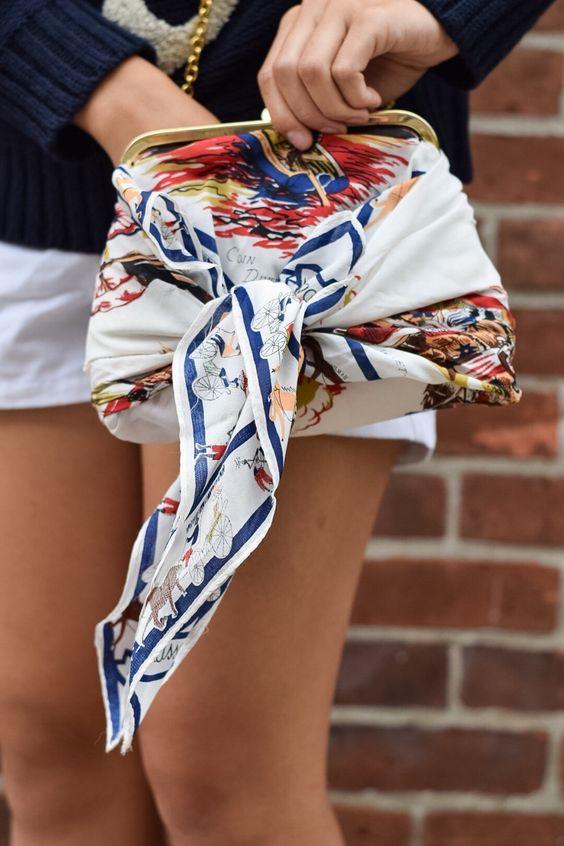 how to use a scarf to refashion a handbag