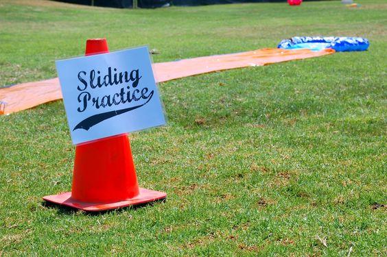 Genius! Slip n slide for summer baseball birthday party - icandy handmade: (iCandy) Baseball Birthday Party