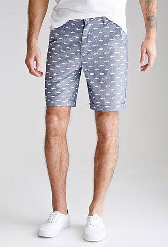 Shark Print Oxford Shorts | 21 MEN | #f21branded