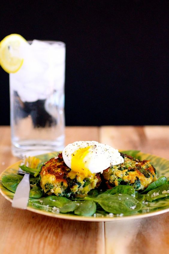 ... Poached Egg (and Earthbound Farms!) | Squash Fritters, Poached Eggs