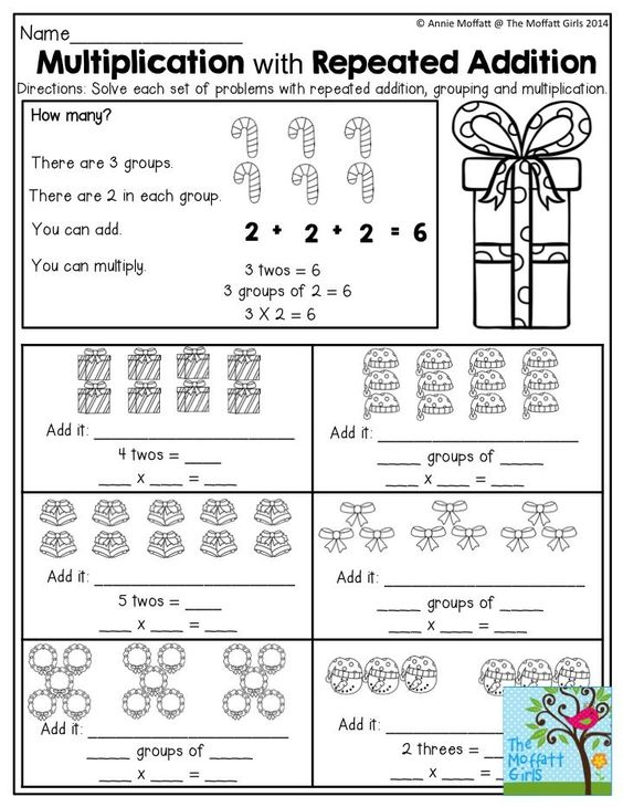 multiplication and repeated addition tons of great worksheets in the december no prep packets. Black Bedroom Furniture Sets. Home Design Ideas