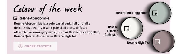 Lovely paint palette by Resene - Resene Abercrombie (pink), Alabaster, Duck Egg (blue), and High Sea (taupe)
